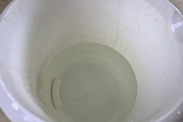Bucket filled with water at room temperature