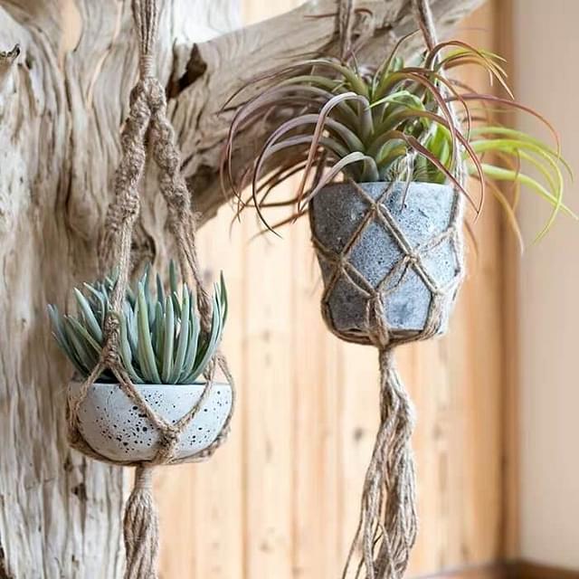 Hanging terracotta pots